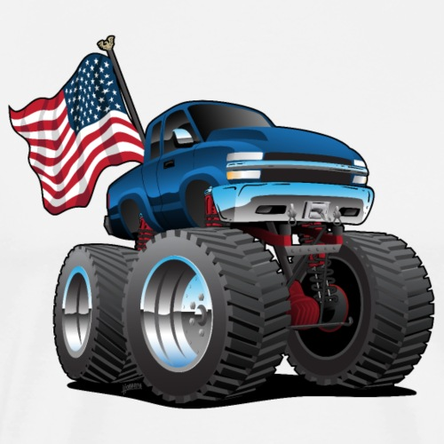 Monster Pickup Truck with USA Flag Cartoon - Men's Premium T-Shirt