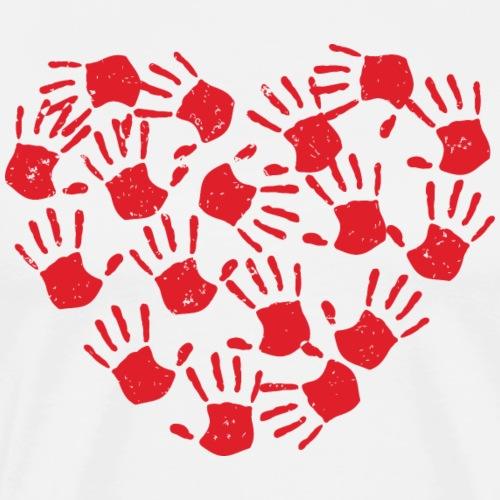 Handprint Heart - Men's Premium T-Shirt