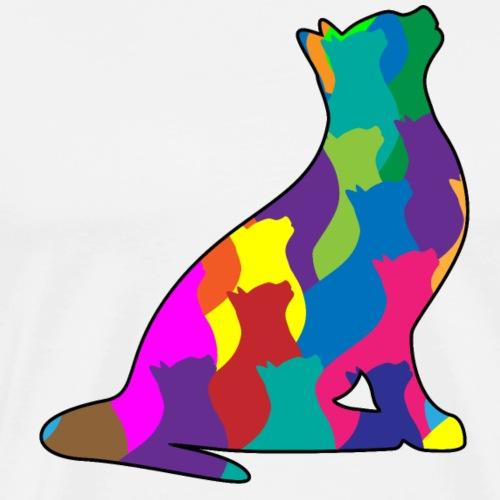 Colorful Cat Collage Silhouette - Men's Premium T-Shirt