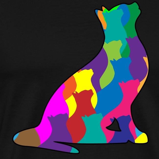 Colorful Cat Collage Silhouette