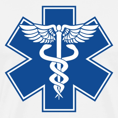 EMT Health Care Caduceus Blue Medical Symbol - Men's Premium T-Shirt