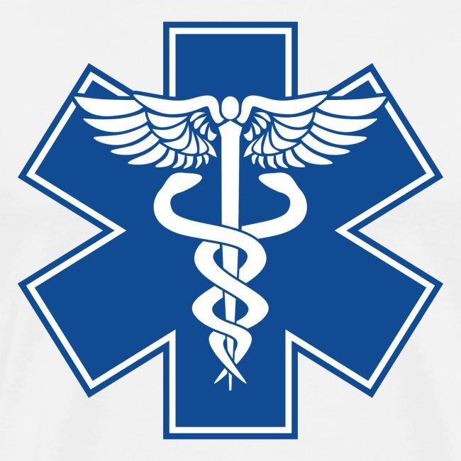 EMT Health Care Caduceus Blue Medical Symbol