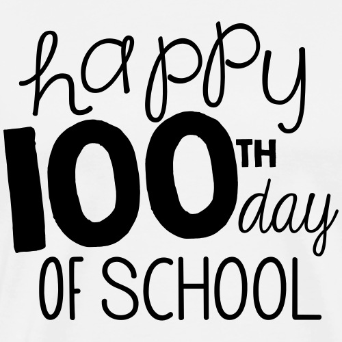 Happy 100th Day of School Chalk Teacher T-Shirt - Men's Premium T-Shirt