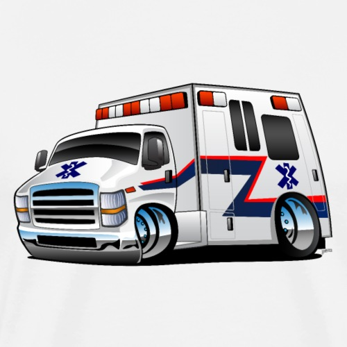 Paramedic EMT Ambulance Rescue Truck Cartoon - Men's Premium T-Shirt