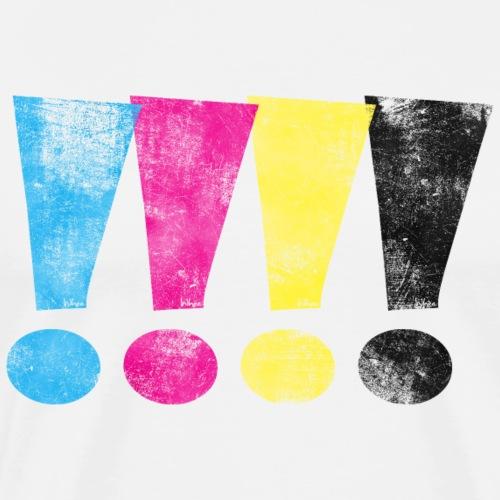 Distressed CMYK Exclamation Points - Men's Premium T-Shirt