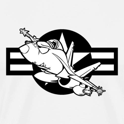 Cartoon Military Fighter Jet Illustration - Men's Premium T-Shirt