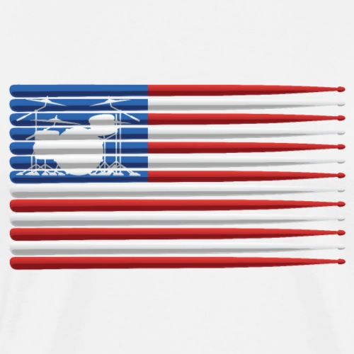 American Drummer Flag with Drum Kit and Sticks - Men's Premium T-Shirt