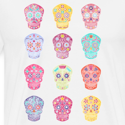 Watercolor Sugar Skulls - Men's Premium T-Shirt