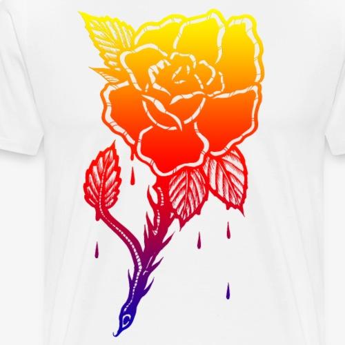 OLD SCHOOL RAINBOW ROSE - Men's Premium T-Shirt
