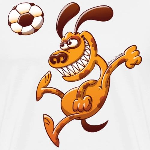 Dog Heading a Soccer Ball - Men's Premium T-Shirt