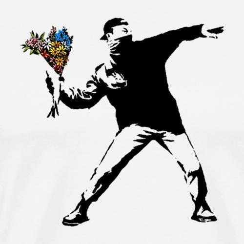 Banksy Rage Flower Thrower - Men's Premium T-Shirt