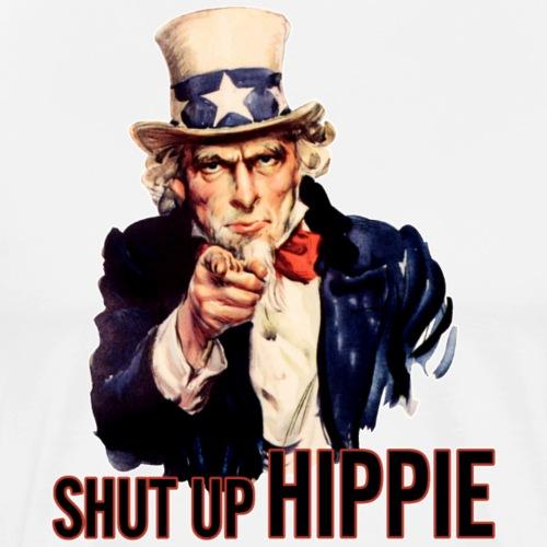 SHUT UP HIPPIE WHITE OUTL - Men's Premium T-Shirt
