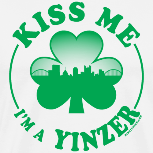 Kiss Me I'm a Yinzer (Green on White) - Men's Premium T-Shirt