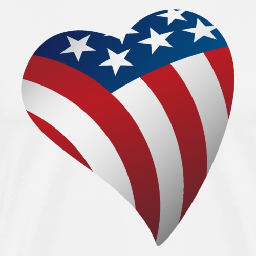 USA Love Heart with American Flag Stars and Stripe - Men's Premium T-Shirt