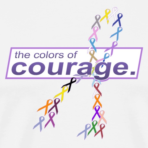 The Colors of Courage Cancer Awareness Ribbons - Men's Premium T-Shirt