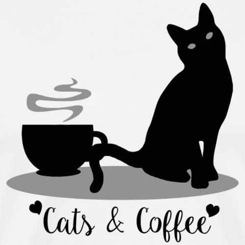 Cats & Coffee - Black Design - Men's Premium T-Shirt