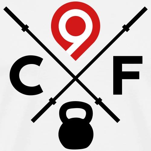 CrossFit9 Crossed Barbells (Black) - Men's Premium T-Shirt