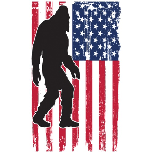 Bigfoot Yeti Sasquatch American Flag - Men's Premium T-Shirt