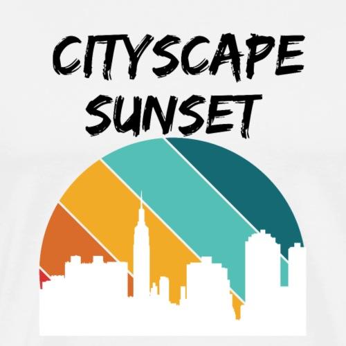 Cityscape Sunset , vintage cityscape - Men's Premium T-Shirt