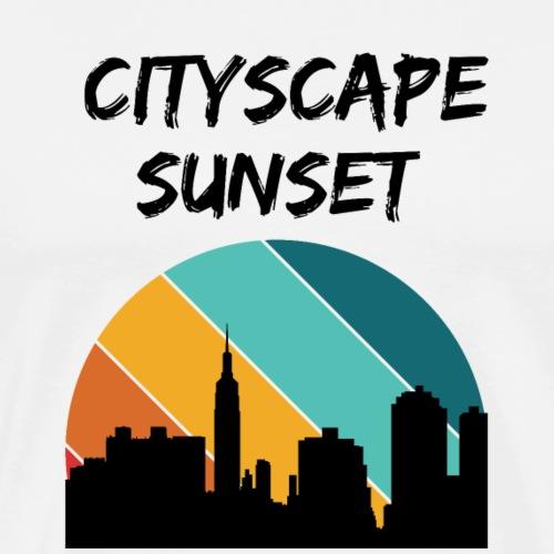 A Cityscape Sunset retro - Men's Premium T-Shirt