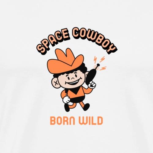 retro cowboy with a space gun - Men's Premium T-Shirt