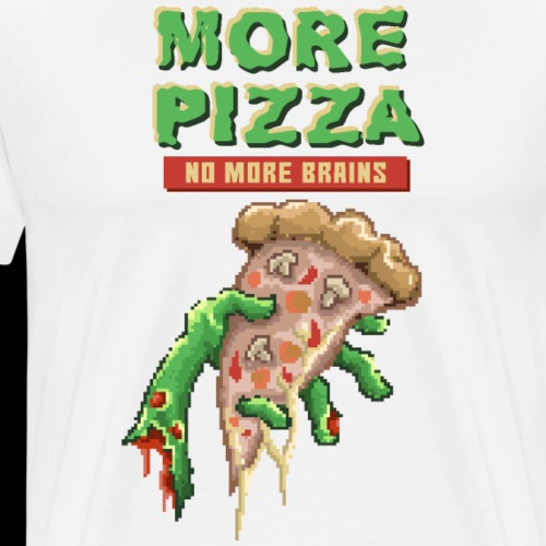 Eat Pizza Not Brains | Funny Zombie Pixelart - Men's Premium T-Shirt