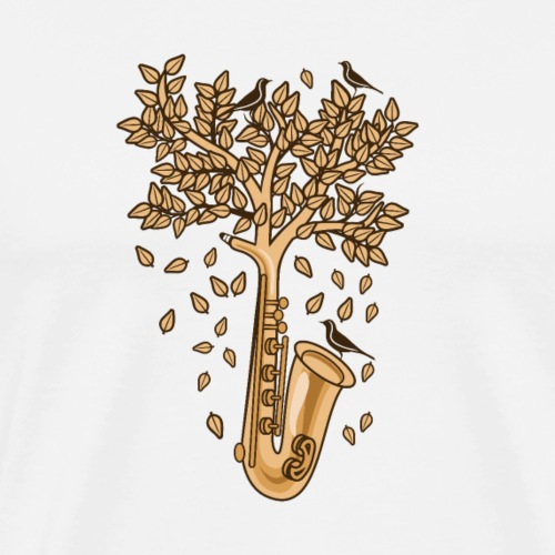 Saxophone Tree of Song Birds - Men's Premium T-Shirt