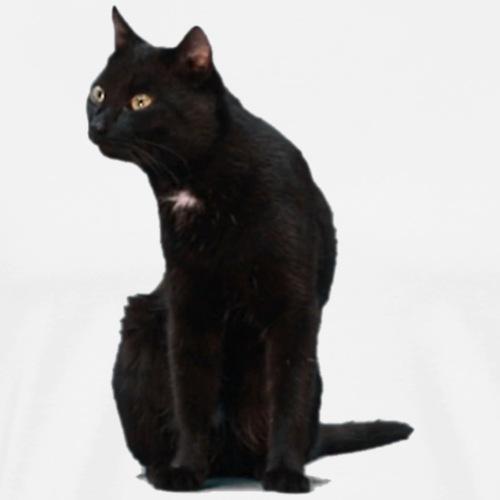 Black cat sitting - Men's Premium T-Shirt