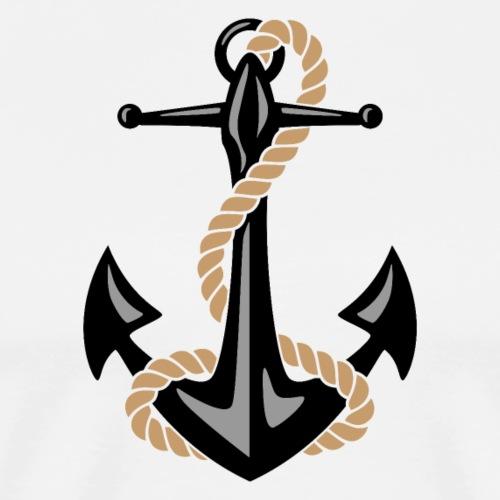 Classic Nautical Anchor and Rope Design - Men's Premium T-Shirt