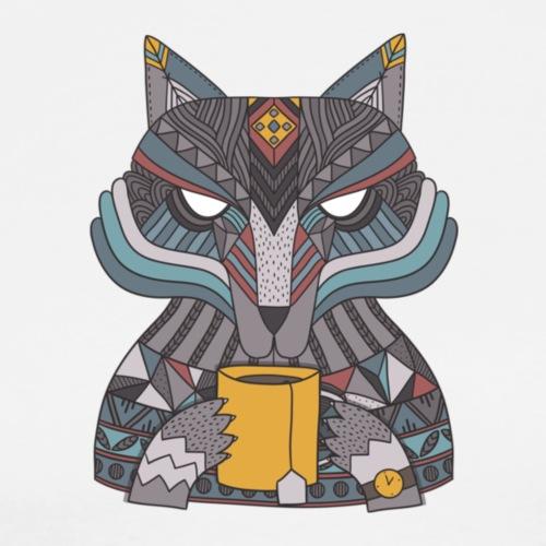 Ethnic wolf drinking tea - Men's Premium T-Shirt