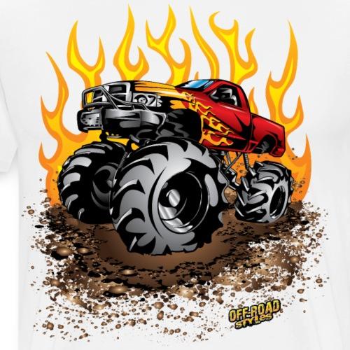 Mega Mud Truck Red Flames - Men's Premium T-Shirt
