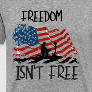 Freedom isn't free flag with fallen soldier design - Men's Premium T-Shirt