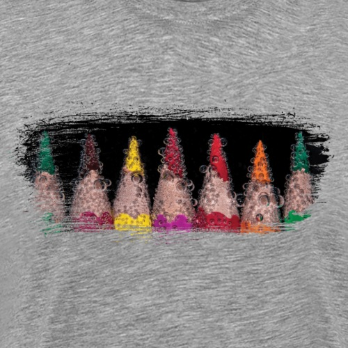 Colored pencils on artistic paint brush swash - Men's Premium T-Shirt