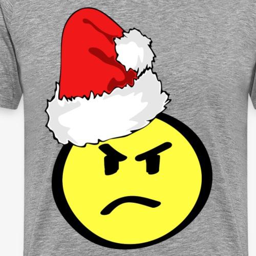 angry smiley face santa hat - Men's Premium T-Shirt