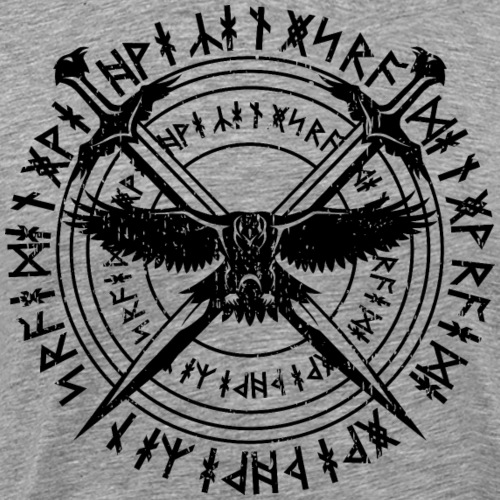 Viking Swords Hawk and Runes - Men's Premium T-Shirt