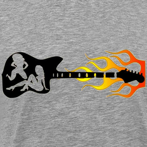 Guitar,Chicks,Flames - Men's Premium T-Shirt