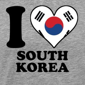 I Love South Korea Korean Flag Heart - Men's Premium T-Shirt