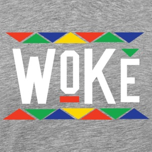 Woke - Tribal Design (White Letters) - Men's Premium T-Shirt