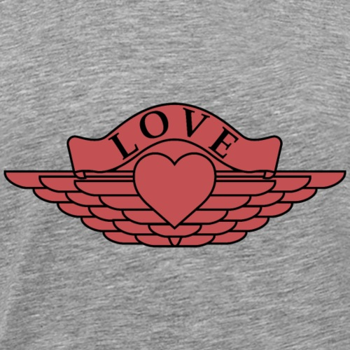 Love - Wings Design (Red/Black Outline) - Men's Premium T-Shirt