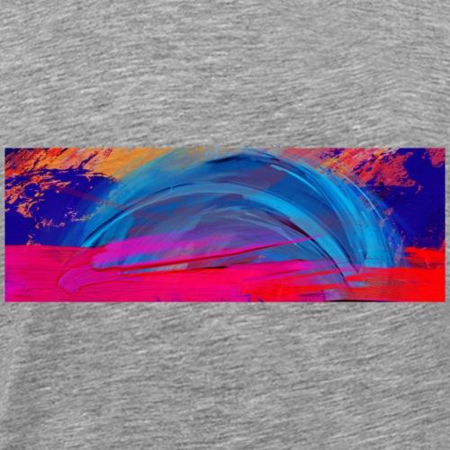 Fire Orange Grunge Paint And Light Blue Background - Men's Premium T-Shirt