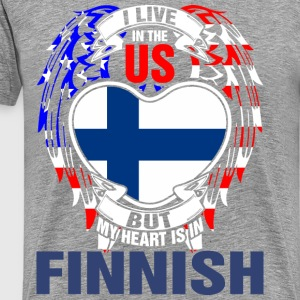 I Live In The Us But My Heart Is In Finnish - Men's Premium T-Shirt
