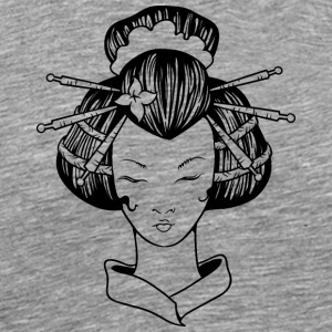 Japanese_geisha_with_closed_eyes_black - Men's Premium T-Shirt