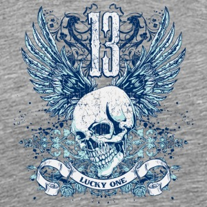 lucky skull 13 with wings - Men's Premium T-Shirt