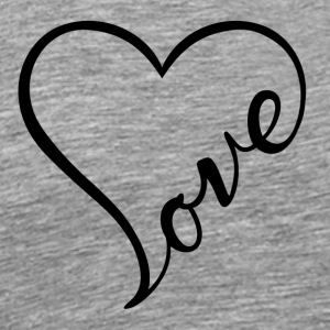 Love - Cursive Heart Design (Black Letters) - Men's Premium T-Shirt