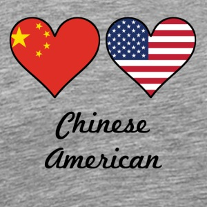 Chinese American Flag Hearts - Men's Premium T-Shirt