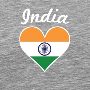 India Flag Heart - Men's Premium T-Shirt