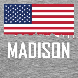 Madison Wisconsin Skyline American Flag - Men's Premium T-Shirt