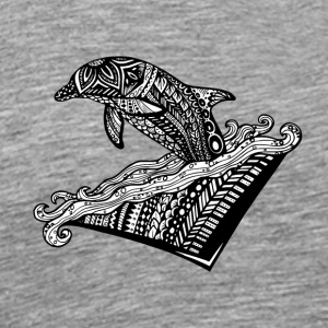 Playful Dolphin Zentangle (abstract doodle) - Men's Premium T-Shirt