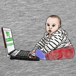 cute baby boy with laptop caricature - Men's Premium T-Shirt