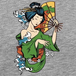 japanese_geisha_with_fan - Men's Premium T-Shirt